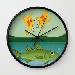 whimsical animal art- birds and fish Wall Clock