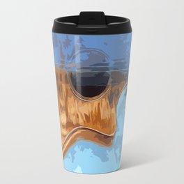Acoustic Guitar fractal blue Travel Mug