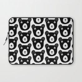 Cute black and white bear illustration Laptop Sleeve