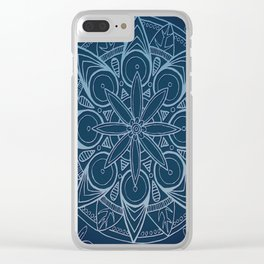 Deep Blue Majestic Mandala Clear iPhone Case