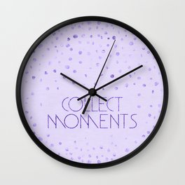 Text Art COLLECT MOMENTS | glittering purple Wall Clock