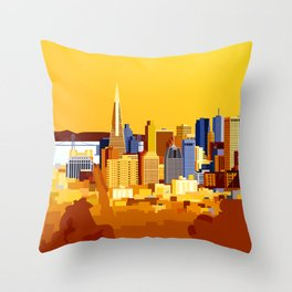 San Francisco on a sunny day Throw Pillow