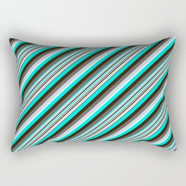 Blue Brown Black Inclined Stripes Rectangular Pillow
