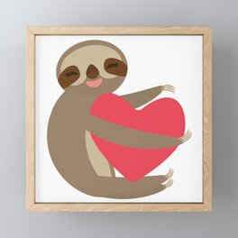 Funny sloth with a red heart Framed Mini Art Print