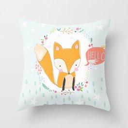 Hello, Fox Throw Pillow