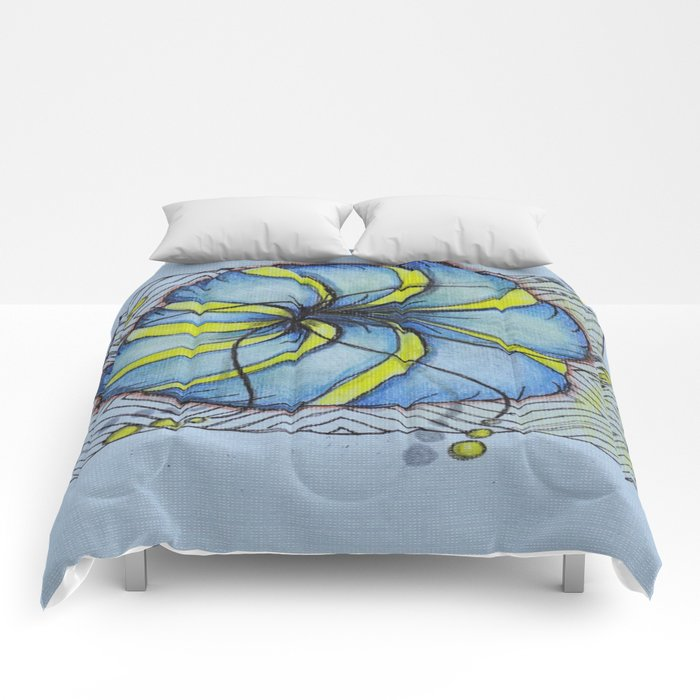 Blue and Yellow Zentangle Flower Comforters