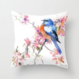 Bluebird and Cherry Blossom Throw Pillow