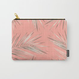 White Gold Palm Leaves on Coral Pink Carry-All Pouch