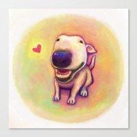 bull terrier Canvas Prints featuring bull terrier by Kappacha