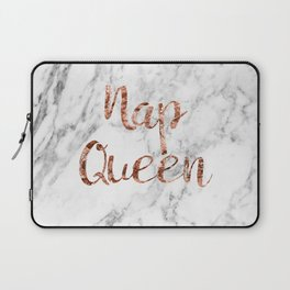 Nap queen - rose gold on marble Laptop Sleeve