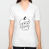 apple V-neck T-shirts featuring Apple by Brittney Patterson