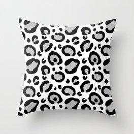 Silver Glitter Leopard Spots Pattern Throw Pillow