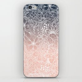 navy blue pastel peach ombre gradient white floral pattern iPhone Skin
