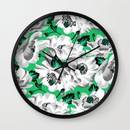 Mount Cook Lily - Green/White Wall Clock