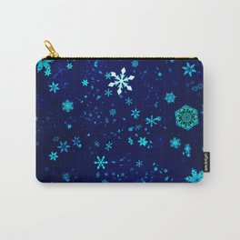 Blue Christmas Snowflakes Pattern Carry-All Pouch