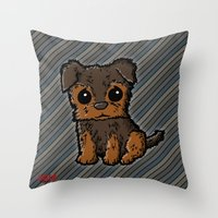 caleb troy Throw Pillows featuring Troy - Silky Terrier by Sylvester Pyke
