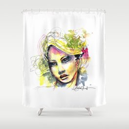 Abstract watercolor portrait Shower Curtain