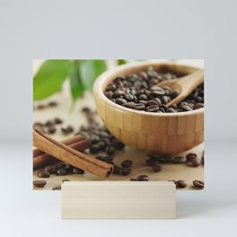 Still life of bamboo shell with fine Arabica coffee and  cinnamon Mini Art Print