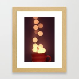 holiday lights and mugs  Framed Art Print