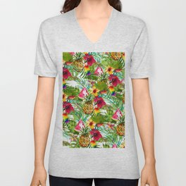 Tropical red yellow orange watercolor pineapple fruit floral Unisex V-Neck
