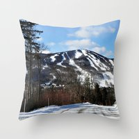 vermont Throw Pillows featuring Vermont Mountain by Tamsin Lucie