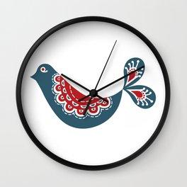 Scandinavian Blue Christmas Bird Wall Clock