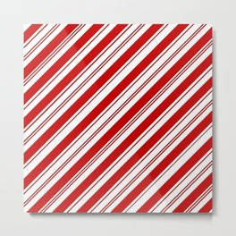 winter holiday xmas red white striped peppermint candy cane Metal Print