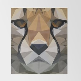 Low Poly Cheetah Throw Blanket