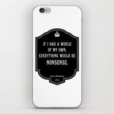 Alice in Wonderland A World Of My Own Quote iPhone Skin