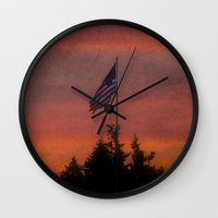flag Wall Clocks featuring flag by On Eagles Wings