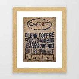 Guatemala - Burlap Coffee Bag Framed Art Print
