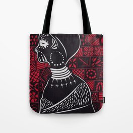 Tribal woman with traditional patterns Tote Bag