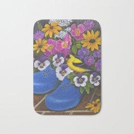 Goldfinch and Blue Garden Clogs Bath Mat