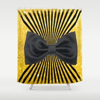 bow Shower Curtains featuring Black bow by haroulita
