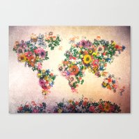 world map Canvas Prints featuring world map by Bekim ART