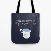 ouat Tote Bags featuring Rumbelle Quote (OUAT) by CLM Design