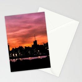Cityscape Sunset Scene, Montevideo, Uruguay Stationery Cards