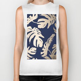 Simply Palm Leaves in White Gold Sands on Nautical Navy Biker Tank