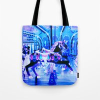 carousel Tote Bags featuring Carousel by Whimsy Romance & Fun