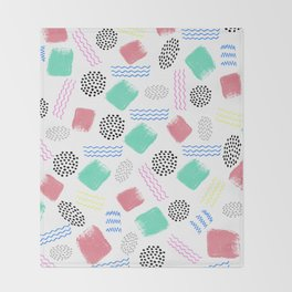 Geometrical pink teal black Memphis 80's pattern Throw Blanket