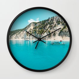 Greece beach paradise Wall Clock