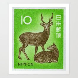 Japan Deer Stamp Art Print