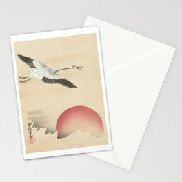 Crane and Red Moon Japanese Print Stationery Cards