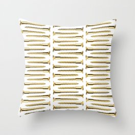 Golden Screws Pattern Poster Throw Pillow