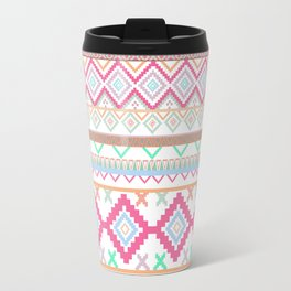 Pink teal Aztec Tribal Diamond geometric Pattern Travel Mug