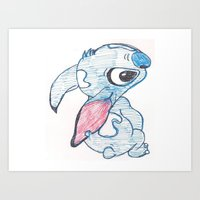 stitch Art Prints featuring Stitch by Art By JuJu