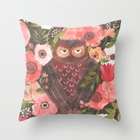 oana befort Throw Pillows featuring SLEEPY OWL by Oana Befort