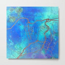 Nice France Street Map Blue Lagoon Metal Print