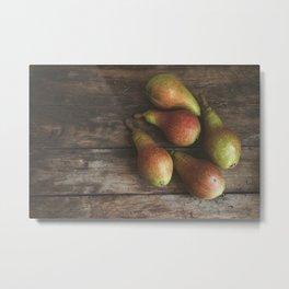 Ripe pears on the table Metal Print