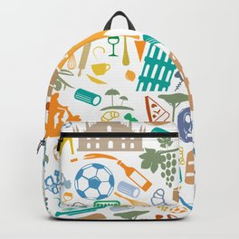 italian background with silhouette symbol Backpack